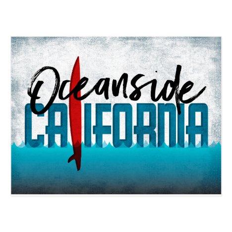 Oceanside California Surfboard Surfing Postcard