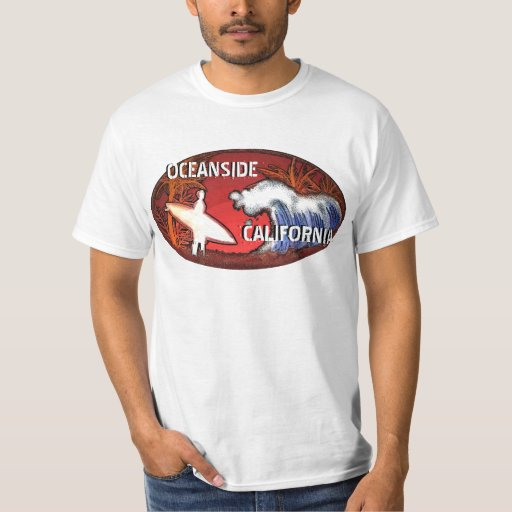 Oceanside California surfer waves value tee