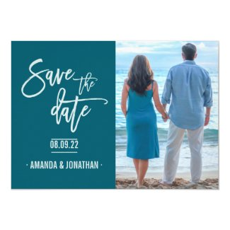 Oceanside color Beach Wedding Save the Date photo Card