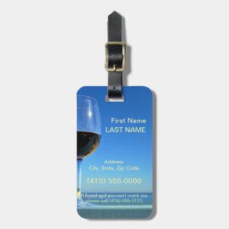 Oceanside Glass of Merlot Travel Bag Tag