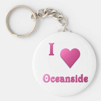 Oceanside -- Hot Pink Basic Round Button Keychain