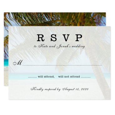 Beach Themed Oceanside Palm Tree Wedding Reply Card