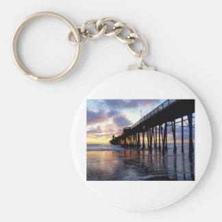 Oceanside Pier at Sunset 3 Basic Round Button Keychain