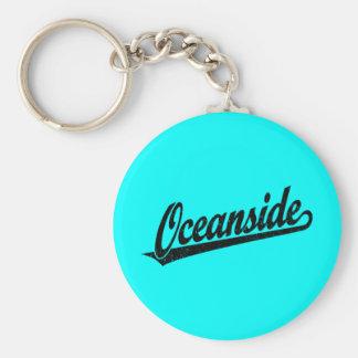 Oceanside script logo in black distressed basic round button keychain