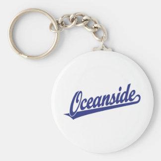 Oceanside script logo in blue basic round button keychain