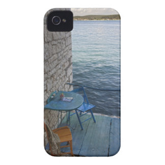 Oceanside seating for two at tiny outdoor cafe, iPhone 4 Case-Mate cases