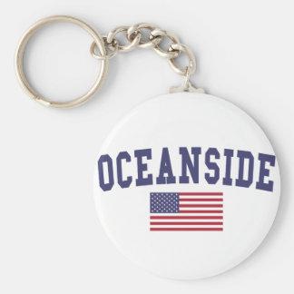 Oceanside US Flag Basic Round Button Keychain