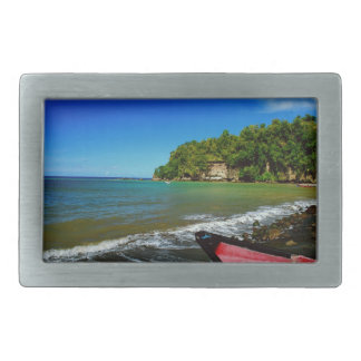 Oceanside view in Saint  Lucia Rectangular Belt Buckle