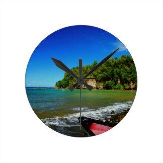 Oceanside view in Saint  Lucia Round Wallclocks
