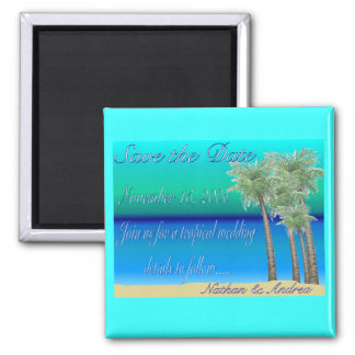Oceanview Save the Date 2 Inch Square Magnet