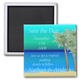 Oceanview Tropical Save the Date 2 Inch Square Magnet