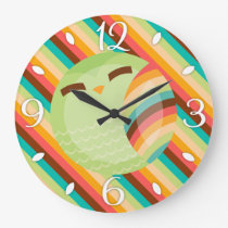 OCee Owl Stripes Clock