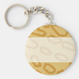 Ocelot Animal Print Pattern, Brown and Tan Colors. Basic Round Button Keychain