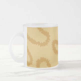 Ocelot Animal Print Pattern, Brown and Tan Colors. Frosted Glass Coffee Mug