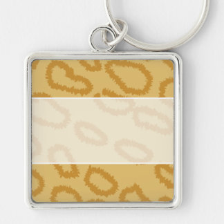 Ocelot Animal Print Pattern, Brown and Tan Colors. Silver-Colored Square Keychain