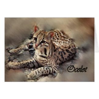 Ocelot art greeting card