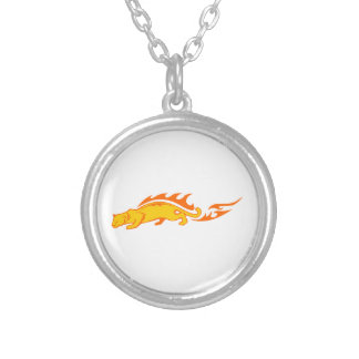 Ocelot in Flames Silver Plated Necklace