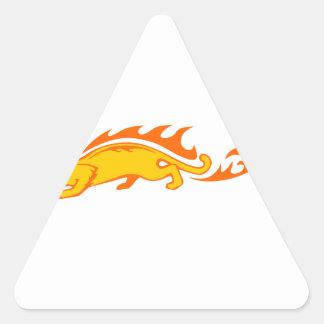 Ocelot in Flames Triangle Sticker