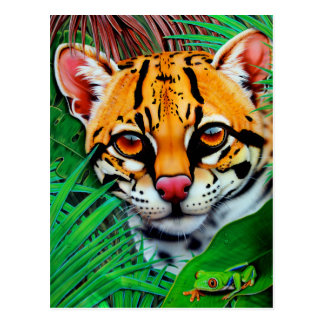 Ocelot in jungle with Red Eye Tree Frog Postcard