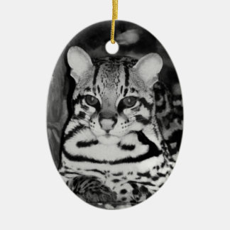 Ocelot in Repose Double-Sided Oval Ceramic Christmas Ornament