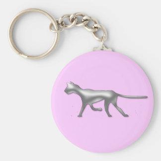 ocelot. on Pink Basic Round Button Keychain