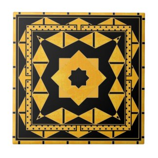 Ocher Black Geometric Bathroom Tile