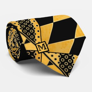 Ocher Black Geometric Pattern Monogram Tie