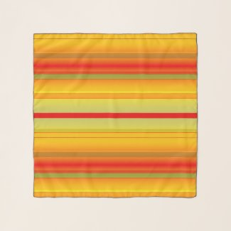 Ocher Red Green Striped Pattern Chiffon Scarf