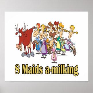 ocho criadas uno-que ordeñan el 8vo octavo navidad impresiones