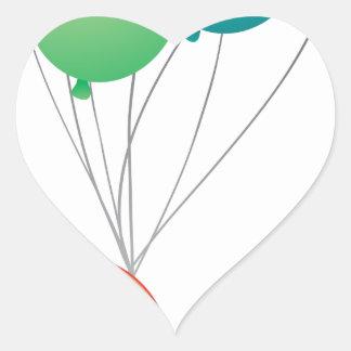 Ocho globos coloridos pegatina en forma de corazón