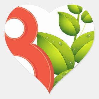 Ocho hojas pegatina en forma de corazón