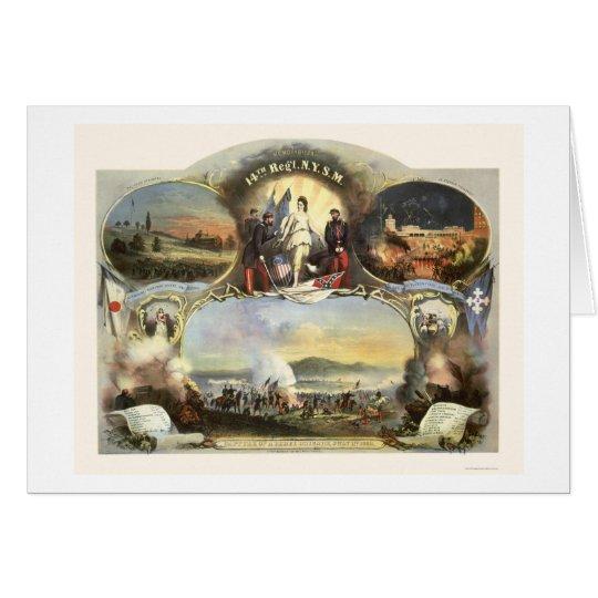 Ocho ilustraciones del 14to regimiento 1865 tarjeta de felicitación