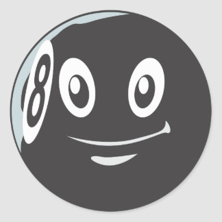 Ocho lindos dibujo animado del billar de 8 bolas pegatinas redondas