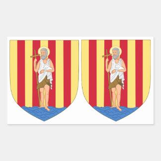 OCHO pegatinas del escudo de armas de Perpignan Pegatina Rectangular