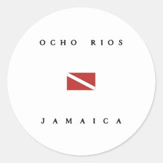 Ocho Rios Jamaica Scuba Dive Flag Round Sticker