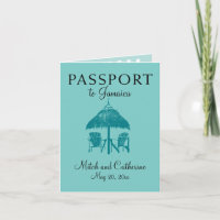 Ocho Rios Jamaica Wedding Passport - Teal Invitation