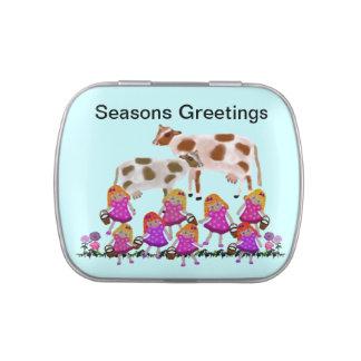 Ocho saludos de las estaciones de las criadas latas de dulces