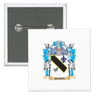 Ochoa Coat of Arms - Family Crest 2 Inch Square Button