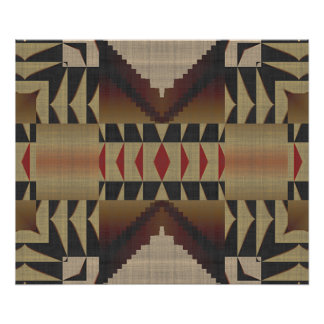Ochre Brown Khaki Red Native Tribal Mosaic Pattern Poster