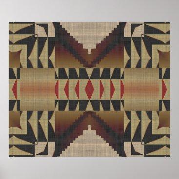 CozyLivin Ochre Brown Khaki Red Native Tribal Mosaic Pattern Poster