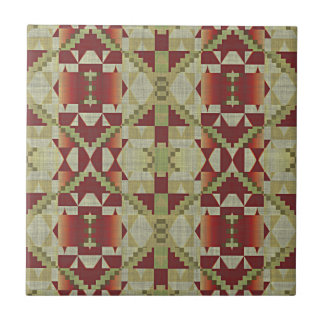 Ochre Brown Red Olive Green Eclectic Ethnic Look Tile