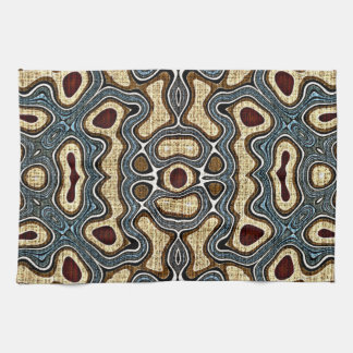Ochre Brown Teal Blue Dark Red Bali Batik Pattern Hand Towels