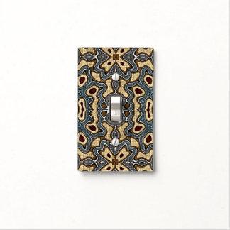 Ochre Brown Teal Blue Dark Red Bali Batik Pattern Light Switch Cover