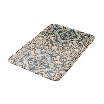 BathingAndBeaching Ochre Brown Teal Blue Oriental Bali Batik Pattern Bathroom Mat
