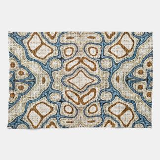 Ochre Brown Teal Blue Oriental Bali Batik Pattern Hand Towel