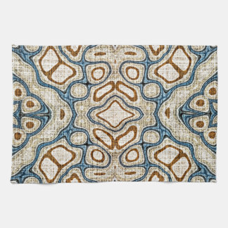 Ochre Brown Teal Blue Oriental Bali Batik Pattern Towels