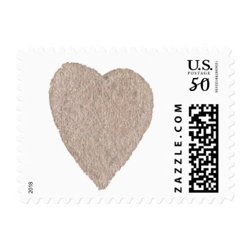 Valentines Themed Ochre Grey Watercolor Heart Postage