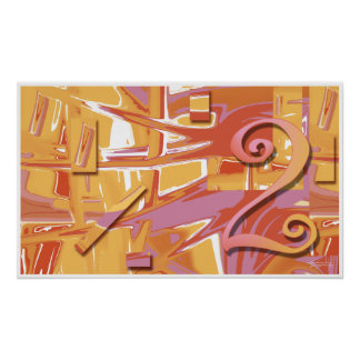 Ochre Two Abstract Art Poster | orange