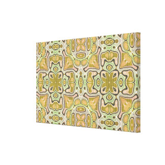 Ochre Yellow Olive Green Nouveau Mosaic Pattern Canvas Print