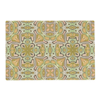 Ochre Yellow Olive Green Nouveau Mosaic Pattern Placemat